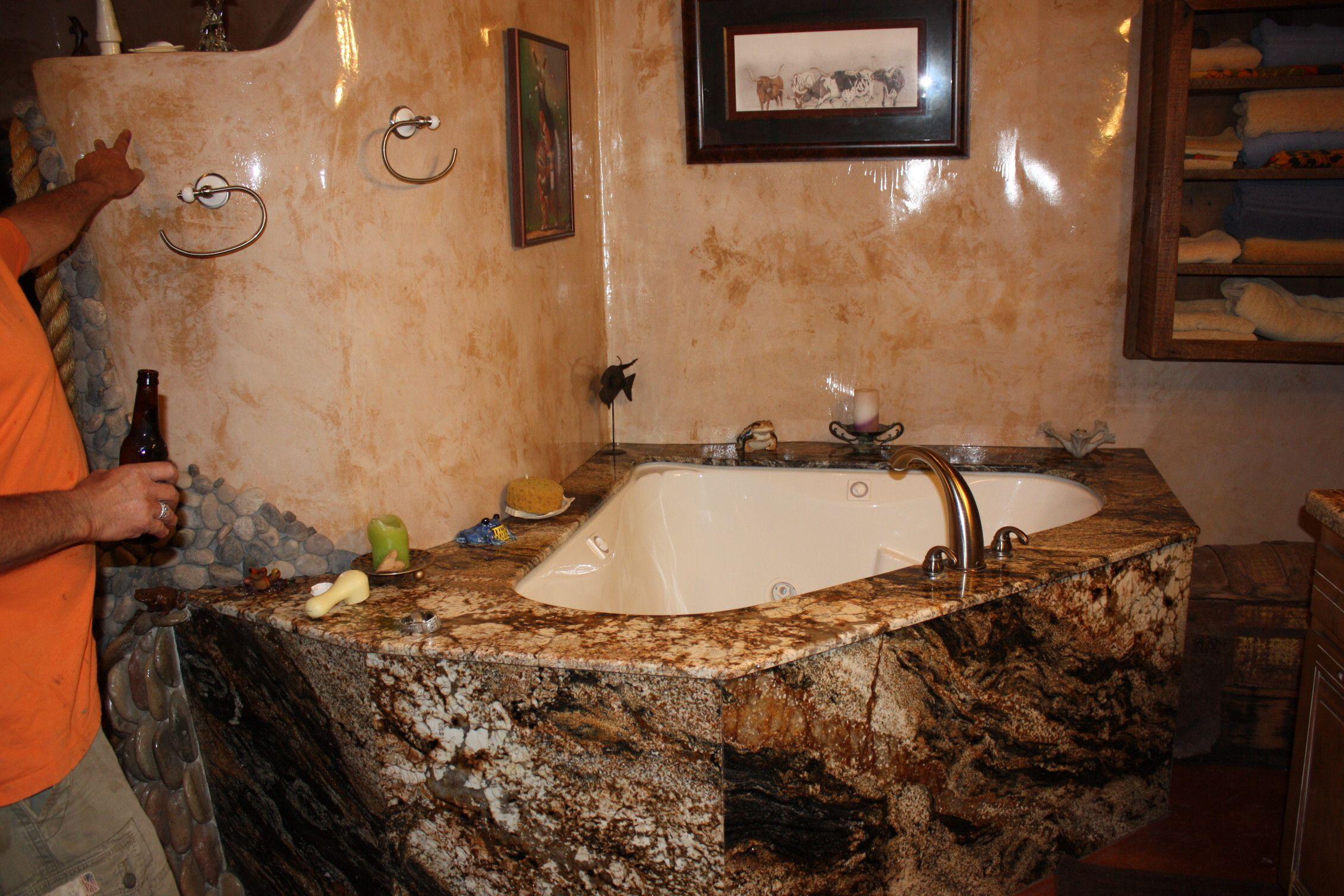 bathroom in adobe house | Adobe house, Corner bathtub ...