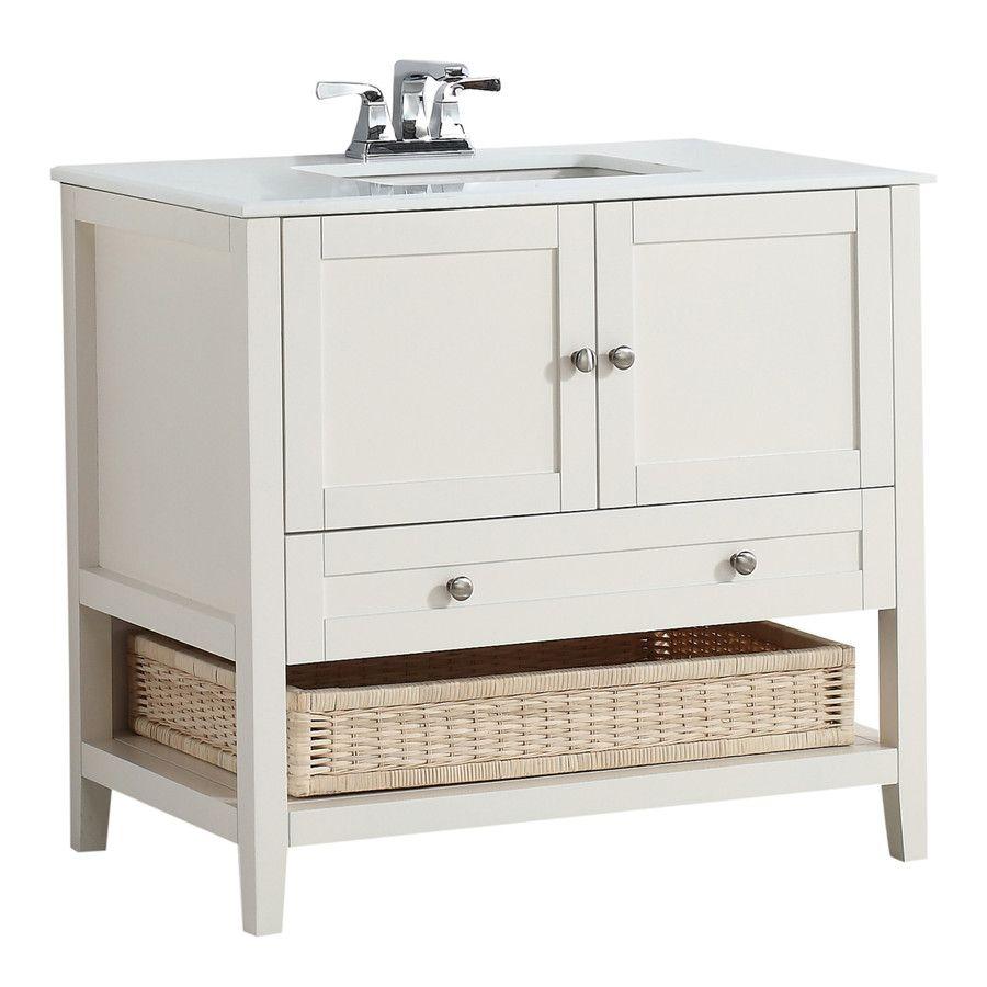 Simpli Home Cape Cod Soft White Undermount Sgle Sk Bathroom