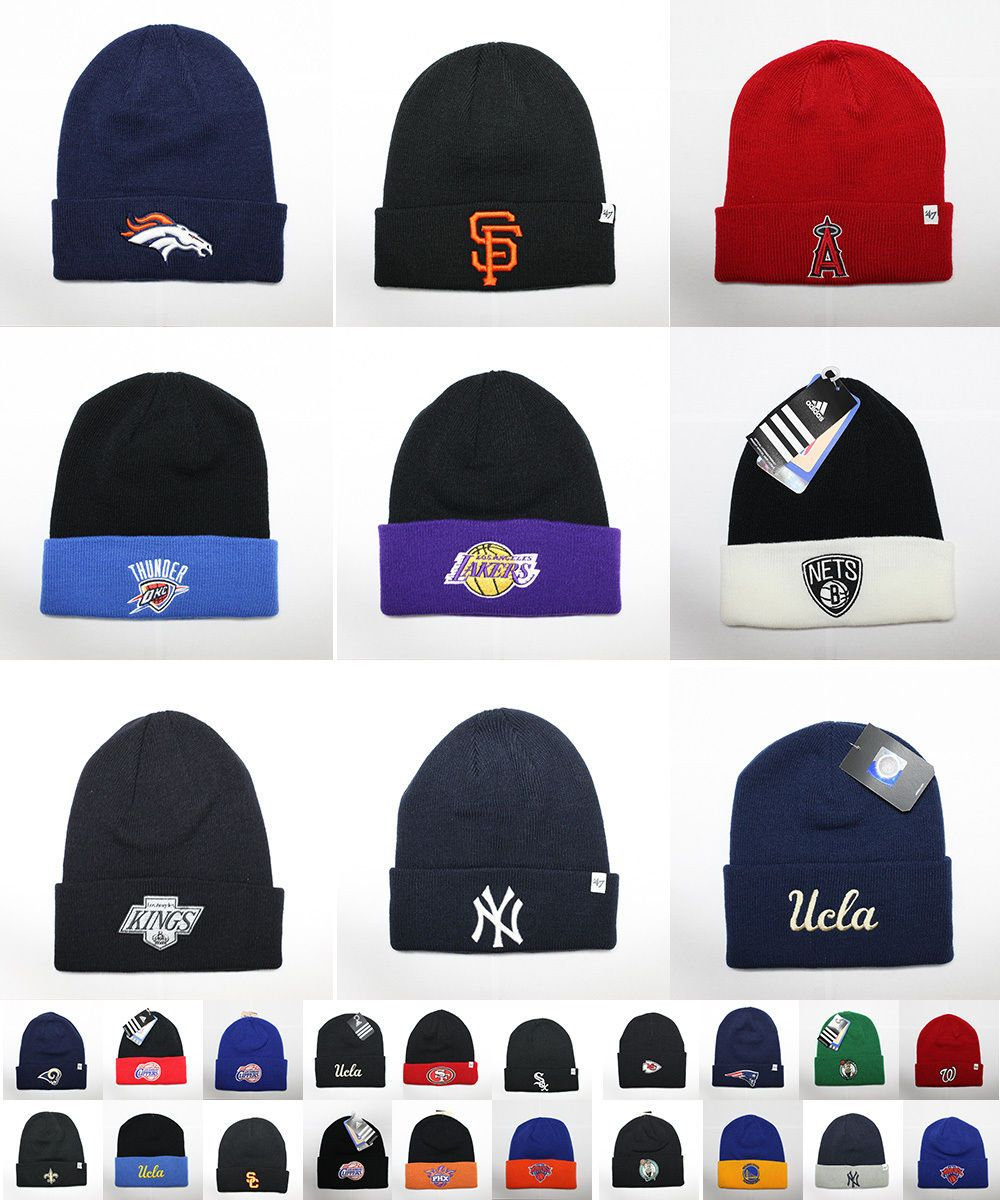 Official Sports Team Embroidered Knit Beanie Hat Cap Apparel Nfl Nba Mlb Nhl e748e333886