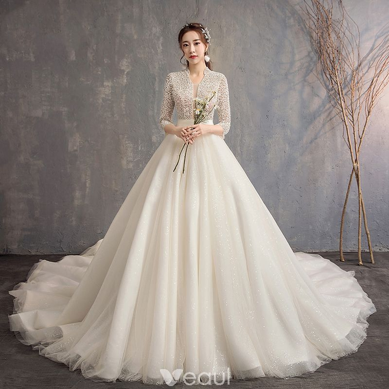 Chinese style Ivory Wedding Dresses 2019 ALine / Princess