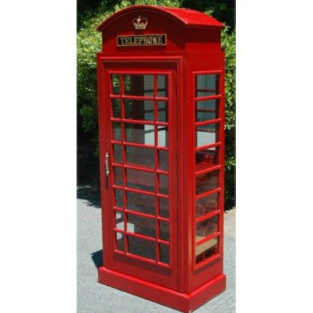 Red British Phone Booth London Wine Bar Cabinet Old Cast Iron Furniture,  England