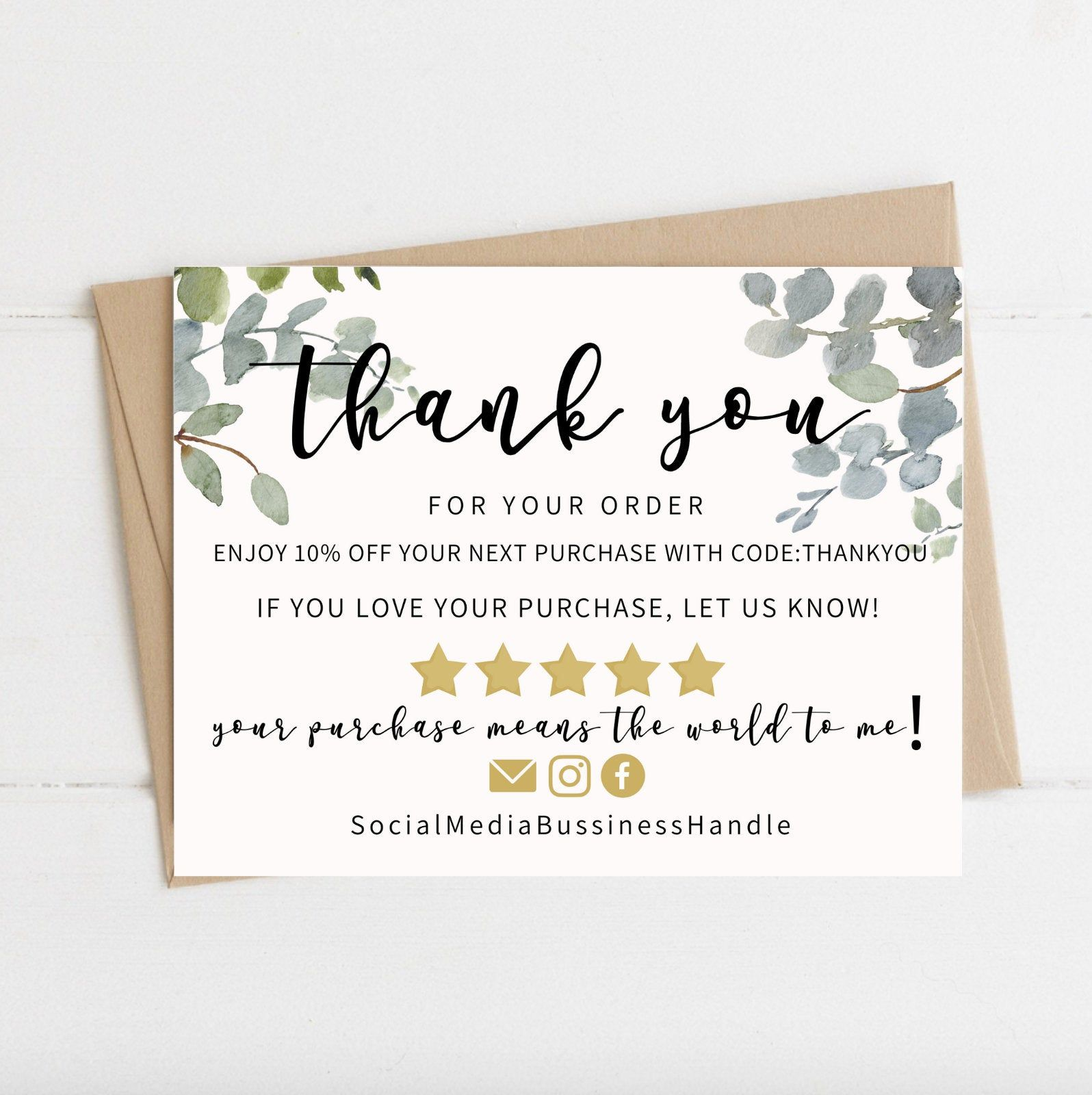Instant Download Thank You Card Editable And Printable Thank Etsy In 2021 Printable Thank You Cards Thank You Card Design Business Thank You Cards