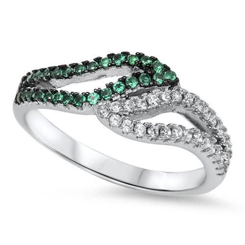 Bypass Swirl 925 Sterling Silver Round Emerald Green Russian CZ Half Channel Hugging Wedding Engagement Anniversary Band Ring Half Eternity