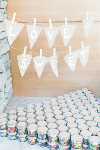 Candy favors: http://www.stylemepretty.com/canada-weddings/2014/12/09/canadian-rocky-mountain-pastel-wedding/   Photography: Christine Pienaar - http://christinepienaarphotography.com/