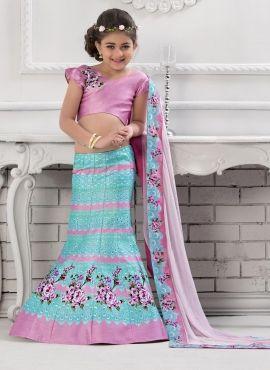 dae81a2349 Taffeta Silk designer Indowestern gold color lengha with blue top ...