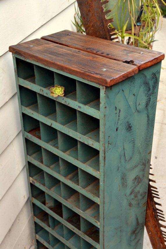 Steel Parts Organizer Cabinet With Wooden Top Green Heavy Duty Rustic VERTICAL Industrial Bin