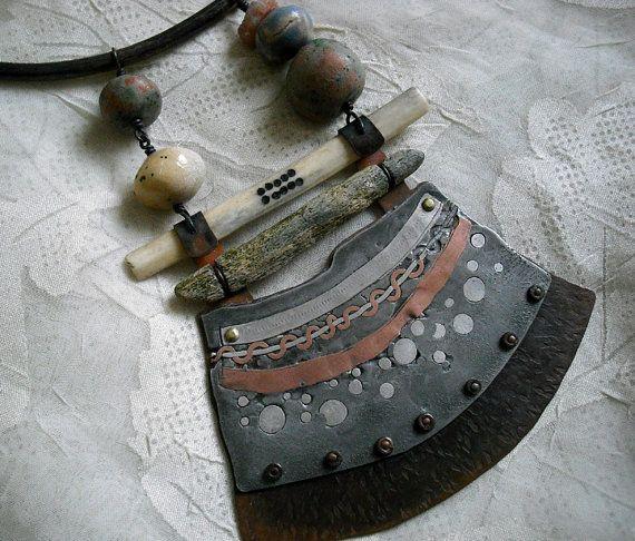 Metalwork ceramic bone choker by pipnmolly on Etsy, $145.00