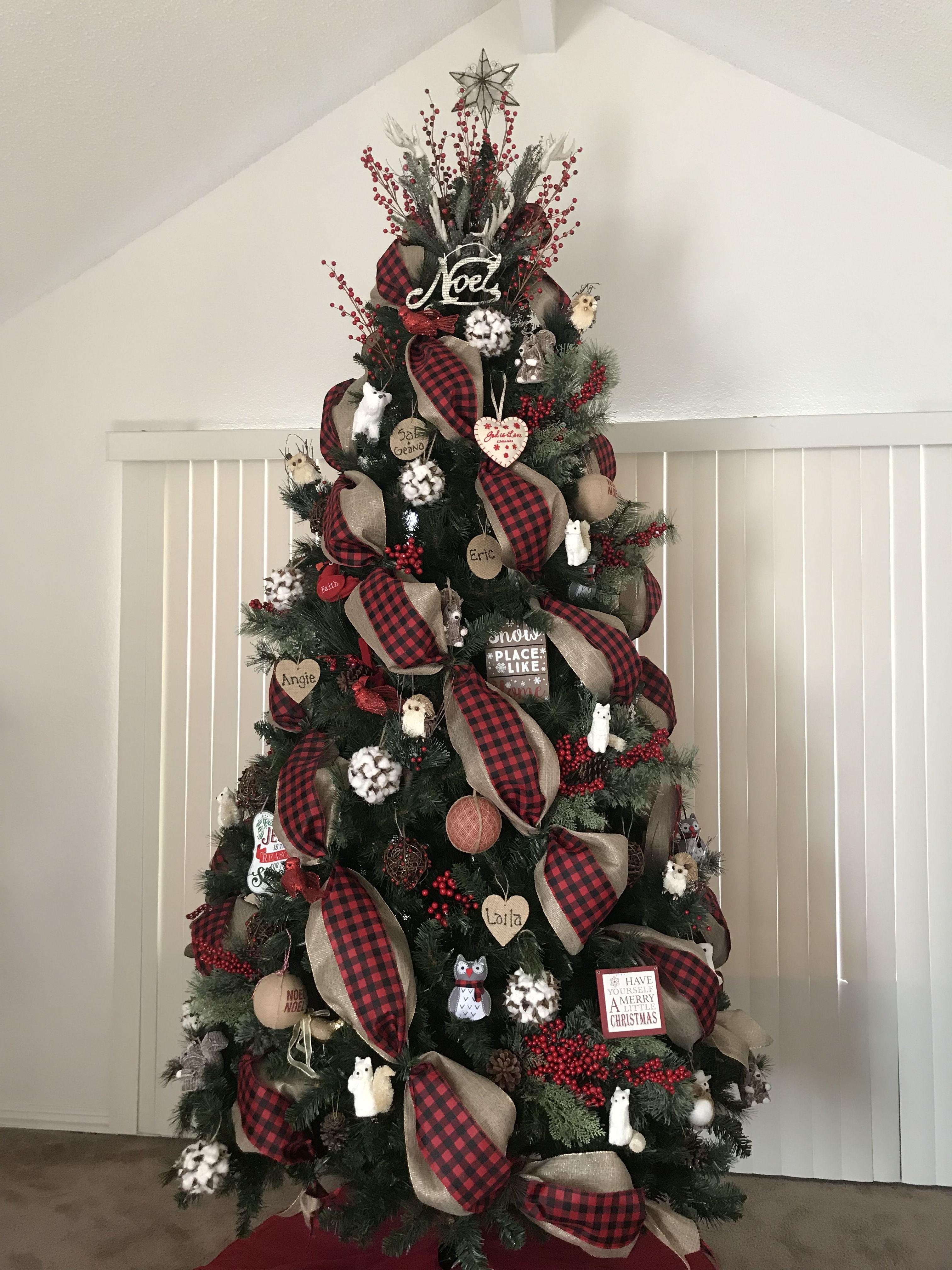 Buffalo Check Christmas Ribbon On Christmas Tree Burlap Christmas Tree Christmas Decorations Rustic Tree