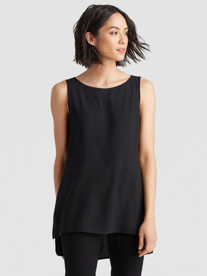 0b883957f97c Eileen Fisher System Silk Long Shell in Black
