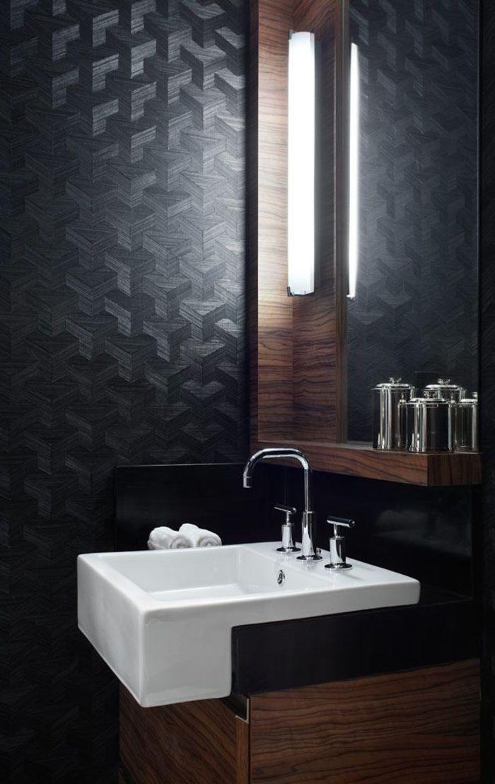 Salle de bain de luxe mur noir idee salle de bain design - Salle de bain originale et pas chere ...