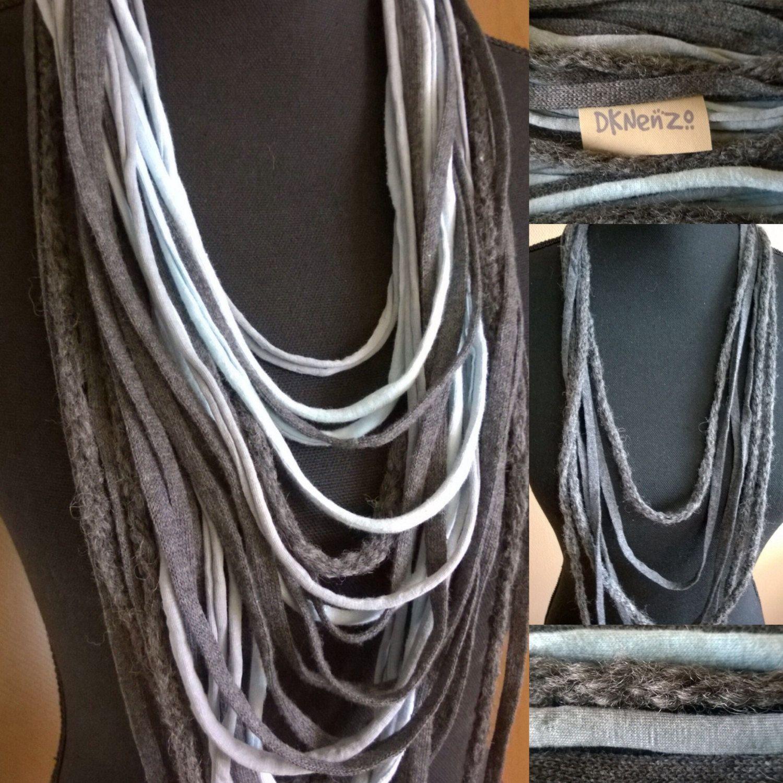 Sjaal Kettingen 1 in lichtblauwtinten en grijstinten en 1 in grijstinten met een wollen item door DKNenzo op Etsy