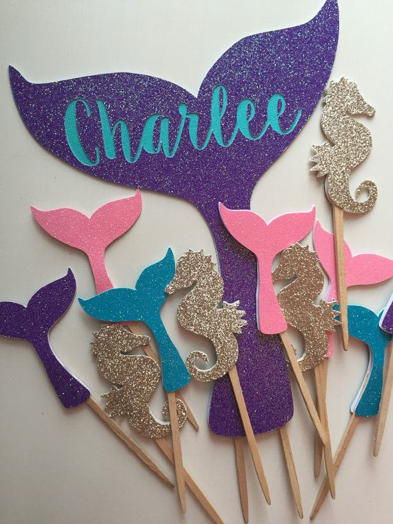 Mermaid Tail Cake Topper With Name Purple And Turquoise Etsy Mermaid Cake Topper Mermaid Theme Birthday Mermaid Birthday Party