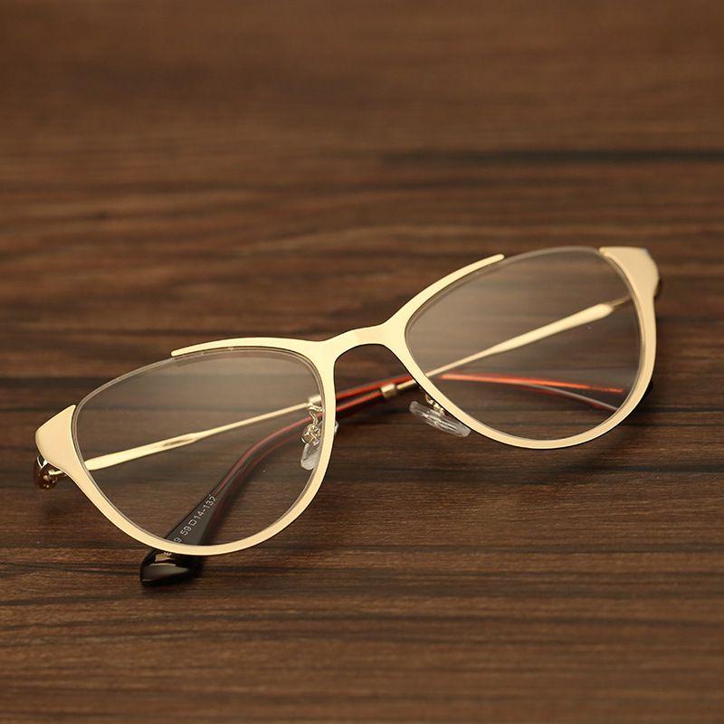 102b83c43 Barato Metade aro de Metal óculos de armações de óculos de lente elegante  Oval…