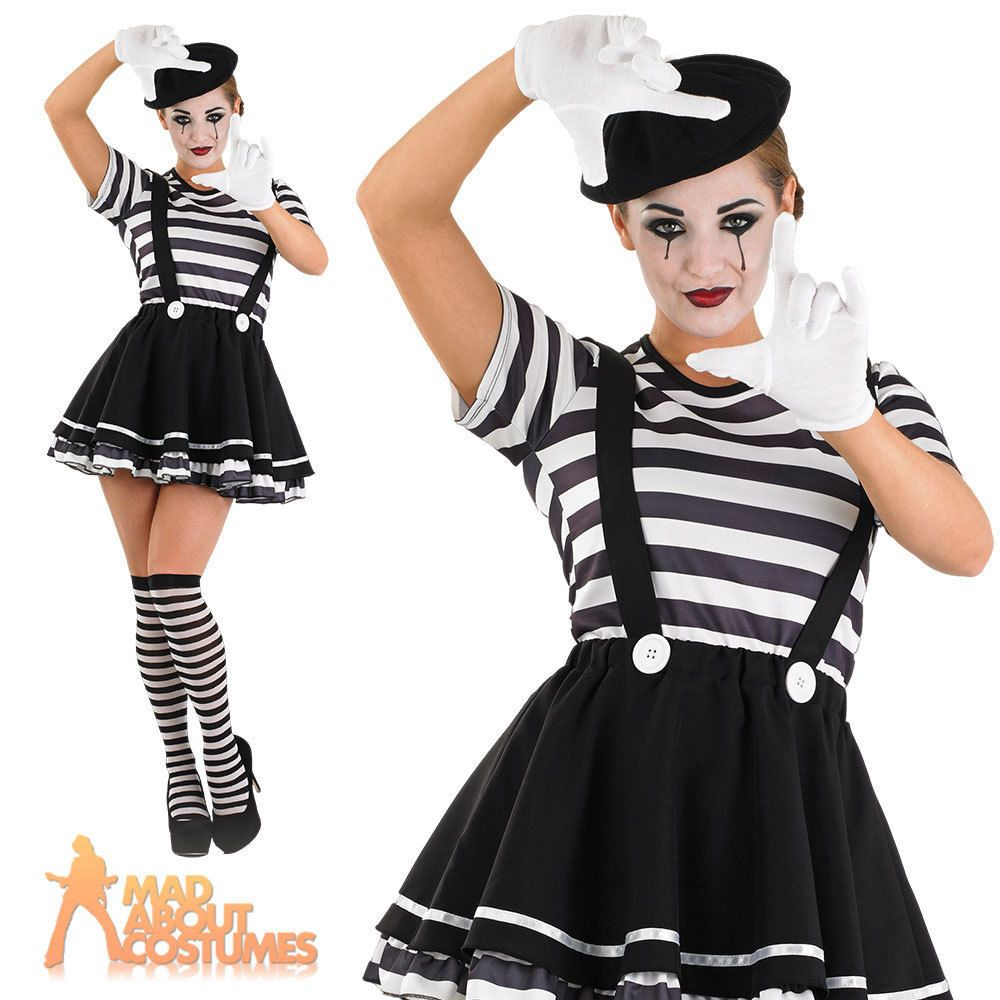 adult mime artist costume ladies sexy french circus fancy dress outfit new - Mime For Halloween