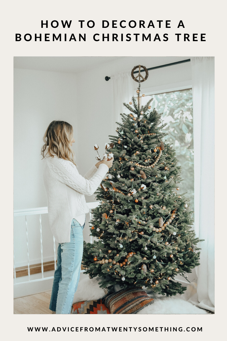 How To Decorate A Bohemian Christmas Tree Bohemian Christmas Christmas Tree Father S Day Diy