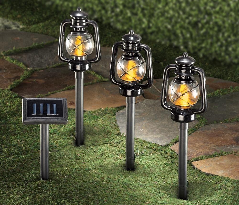 Solar Lantern Garden Sidewalk Stakes Set Of 3 Rustic Outdoor Country Home Decor Outdoor Pathway Lighting Solar Lights Garden Railroad Lanterns