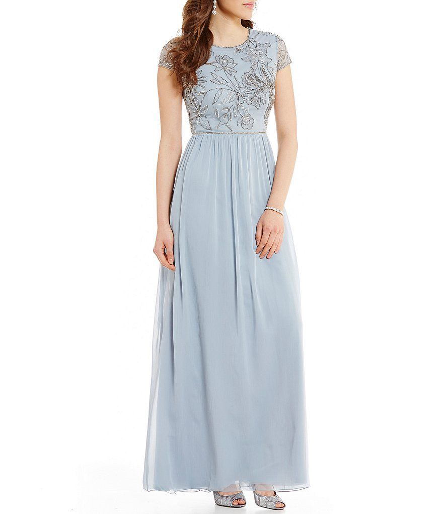 Adrianna Papell High Neck Cap Sleeve Beaded Bodice Mesh Long Gown ...