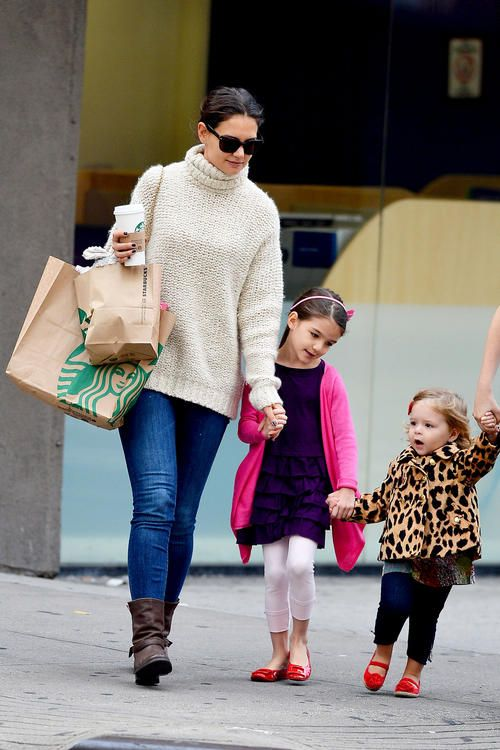 Katie Holmes takes her daughter Suri and a school friend for some treats at Starbucks in New York City