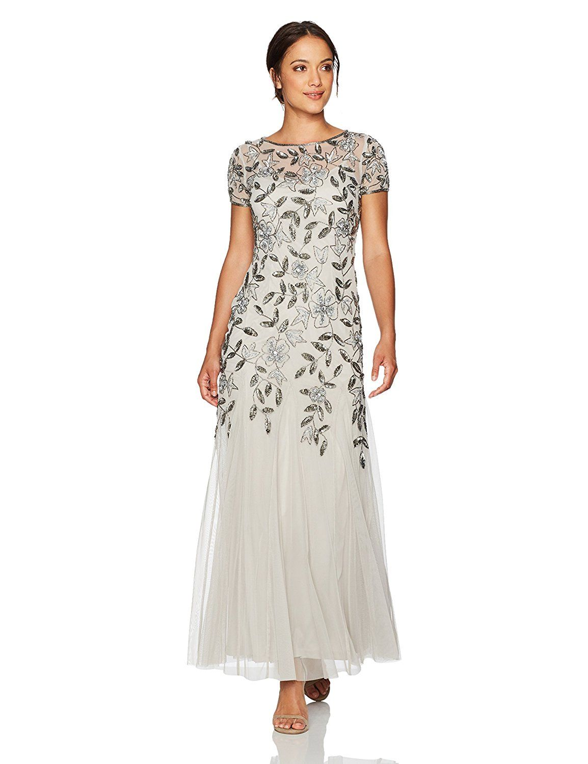 Adrianna Papell Women\'s Petite Floral Beaded Godet Gown, Silver, 10P ...