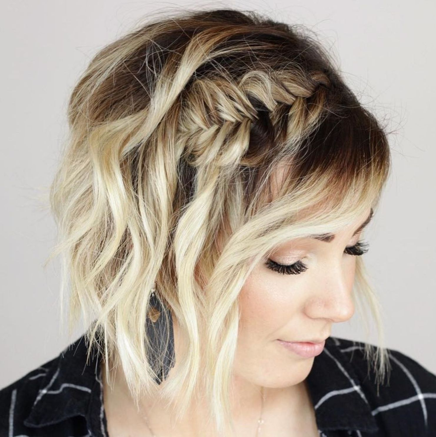 60 Creative Updo Ideas For Short Hair In 2020 Short Hair Styles Short Hair Updo Fish Tail Braid