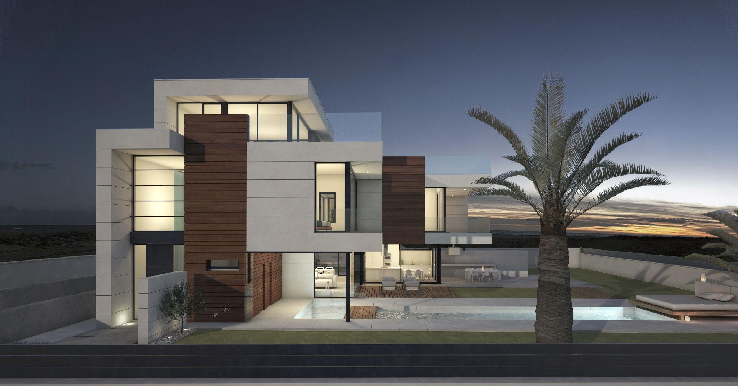Render de propuesta de fachada en vivienda unifamiliar for Render casa minimalista