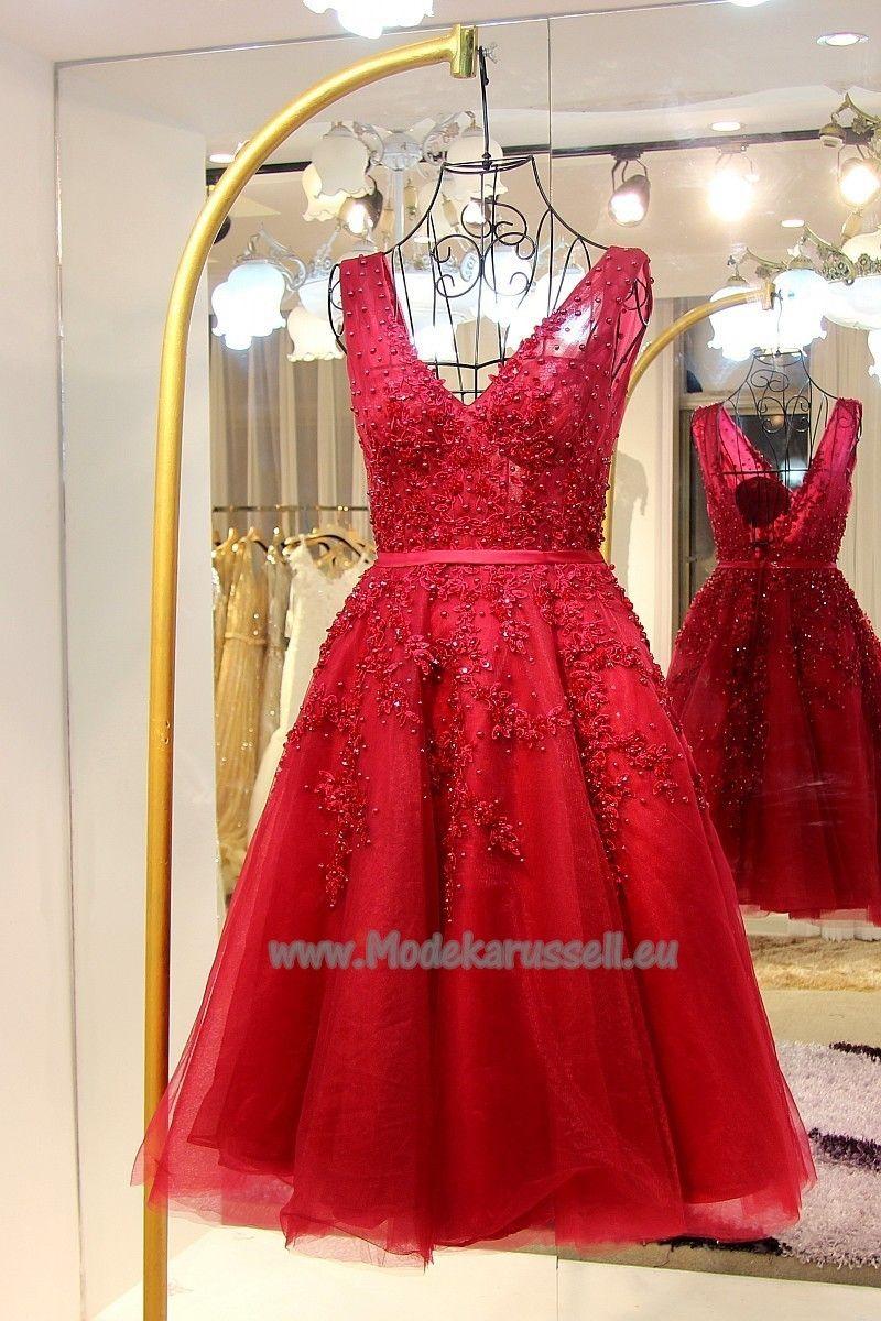 Rotes Doppel V Ausschnitt Cocktailkleid 2017 Fabienne | Rote Kleider ...