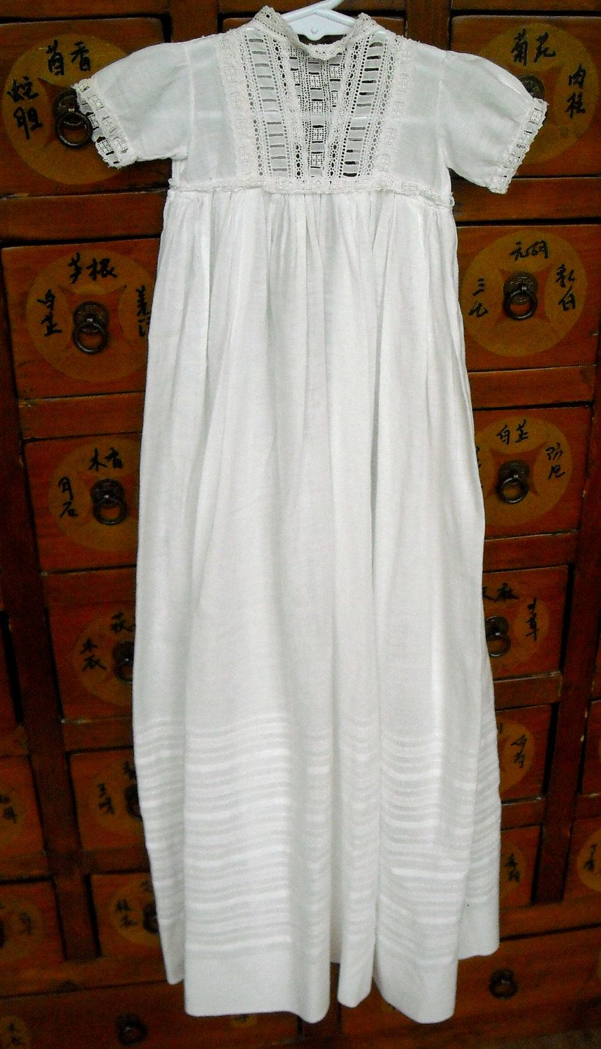 Vintage Christening Gown for Baby, Long, Eyelet and Fine Cotton, Edwardian. $40.00, via Etsy.