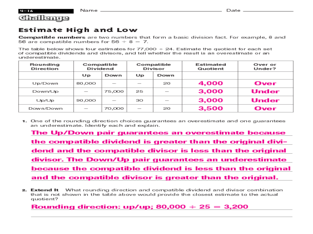 Estimate High And Low Compatible Numbers Worksheet