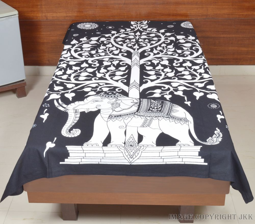 Bed sheet hanging - Indian Tree Elephant White Bed Cover Hanging Cotton Single Bed Sheet Iwus Bs2