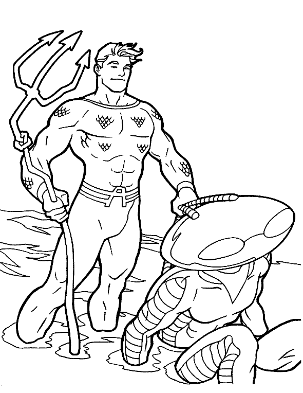 Aquaman Holding A Trident Coloring Pages For Kids Bpw Printable Aquaman Coloring Pages For Kids