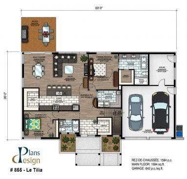 855 - Le Tilia Bungalow Plain pied Plans Design plan maison - plan maison  plain pied