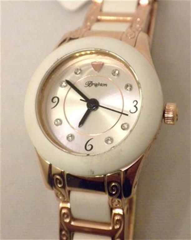 Brighton Baby Brooklyn Quartz Wrist Watch White Rubber & Rosegold W4099S NWT  #Brighton #Fashion