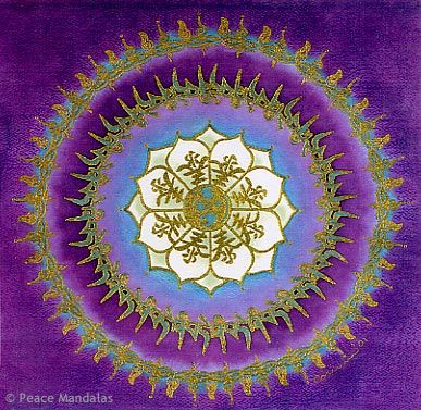 Viewed From The Inner To Outer Ring Symbols Displayed In This Mandala Include Earth Chinese Heaven On Petals Tibetan