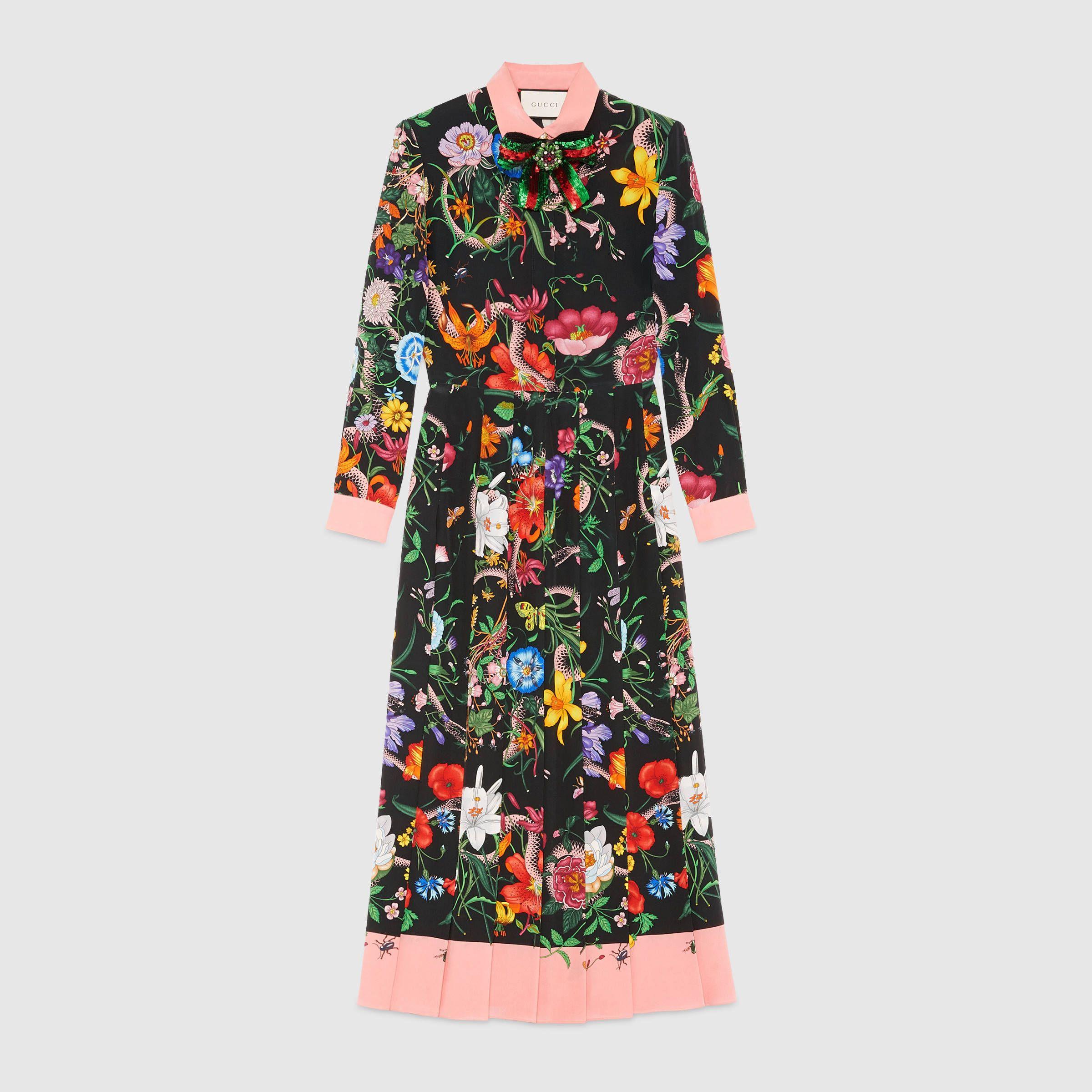 15e668ecb Kleid aus Seide mit Blumen- und Schlangen-Print | floral | Kleider ...