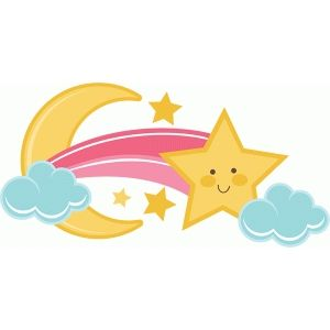 Silhouette Design Store View Design 40229 Shooting Star With Moon And Clouds Silhouette Design Shooting Stars Craft Projects