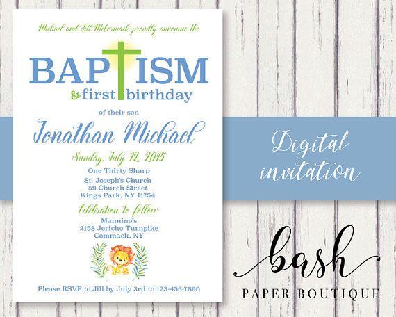 First Birthday Baptism Invitation Baptism First Birthday Invitation