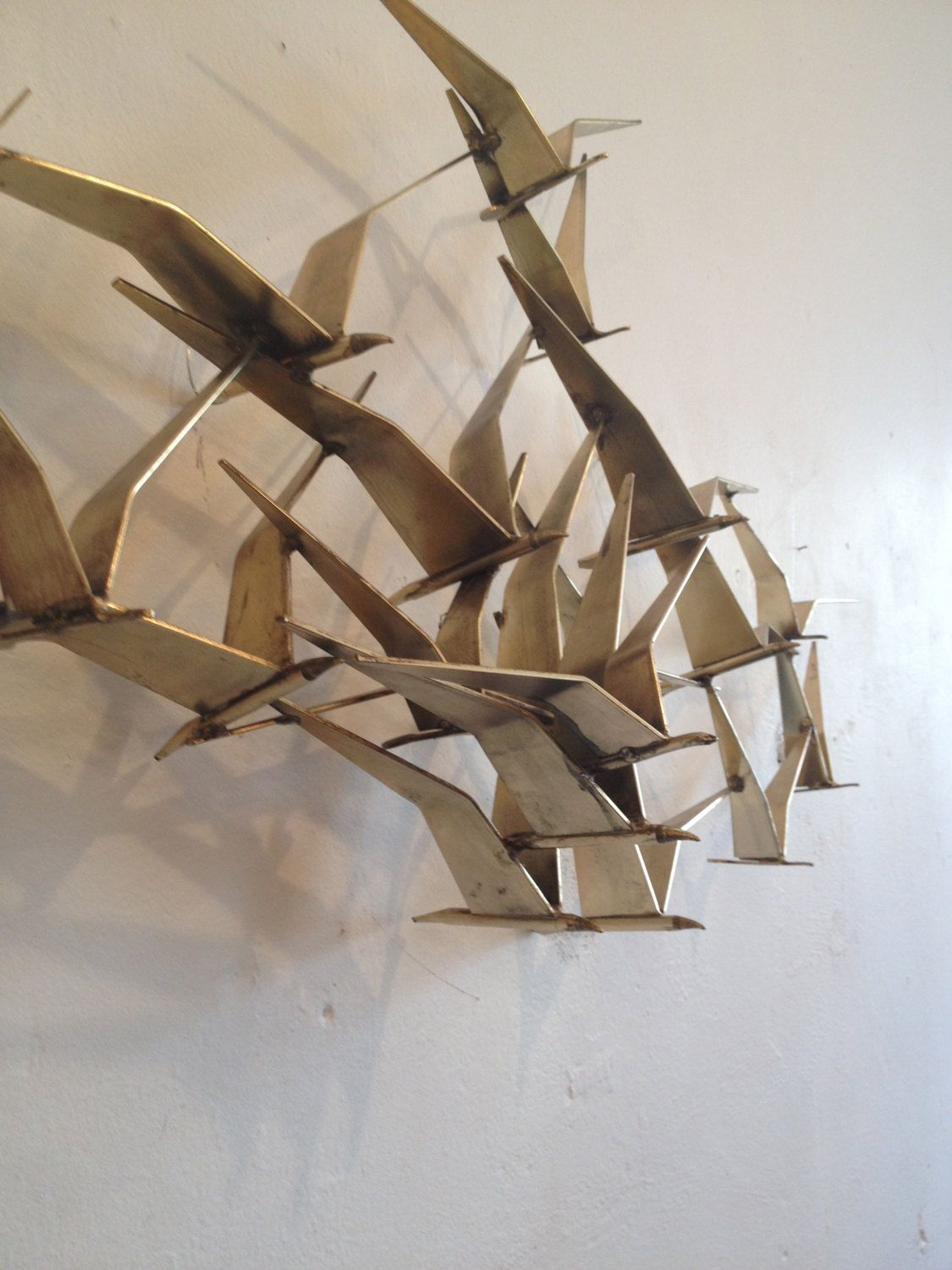 Vintage Curtis Jere Birds In Flight Wall Sculpture In