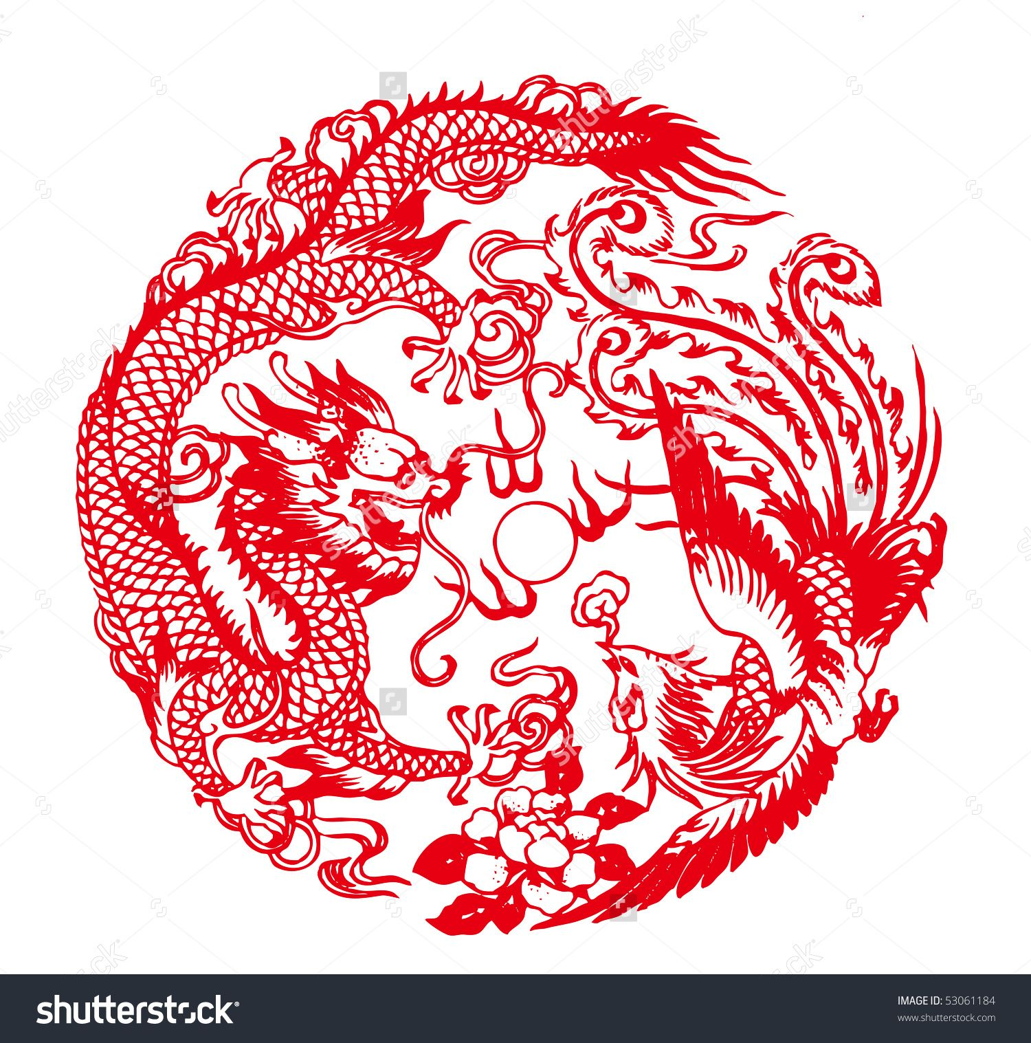 chinese paper cutting auspicious dragon and phoenix pattern