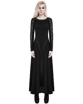 Punk Rave Maxi Dress Long Sleeve Black Gothic Dieselpunk Witch Faux