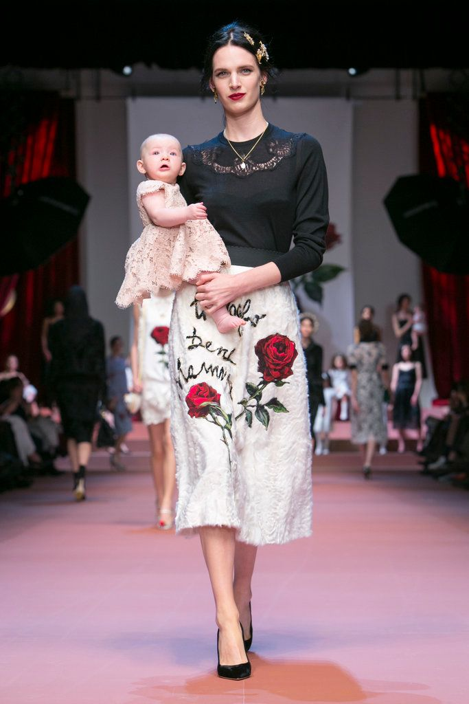 Rose motifs and children s drawings were printed on the dresses and skirts  in the nostalgic and swoonworthy Dolce   Gabbana collection 28f5ed72a1