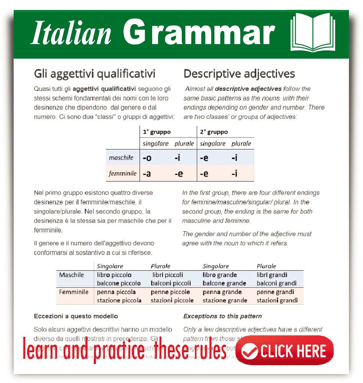 Italian Descriptive Adjectives