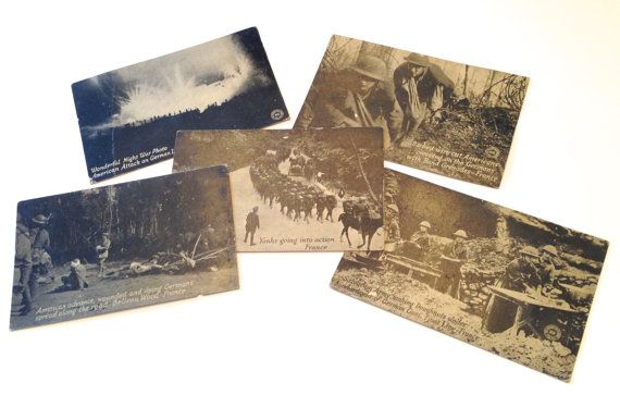 5 Original WWI Postcards, French Theatre, Chicago Daily News