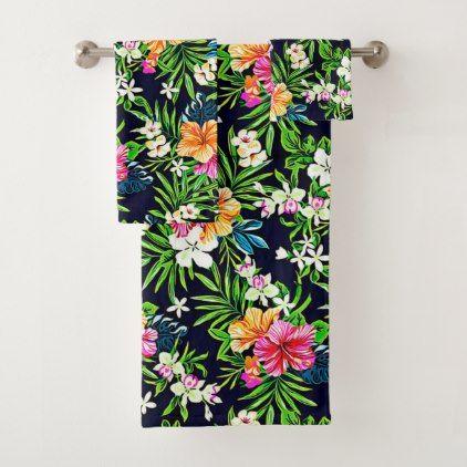 Bold Bright Tropical Hibiscus Flowers Bath Towel Set Zazzle