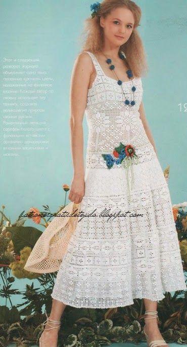 Encantador solero para lucir en verano   Crochet y dos agujas