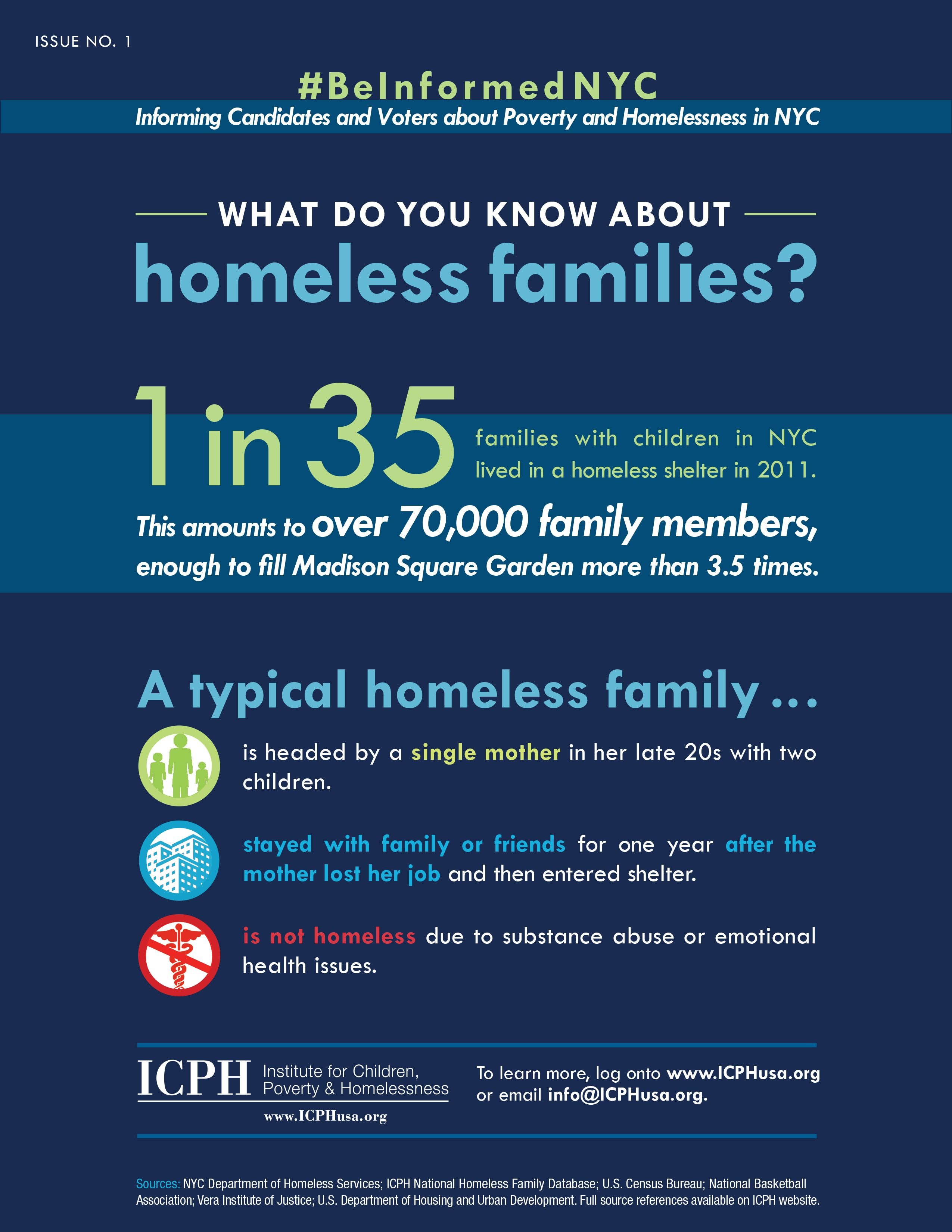 Poverty And Homelessness Info Graphic By Icph For The Upcoming Nyc Mayoral Election Poverty Infographic Homeless Families