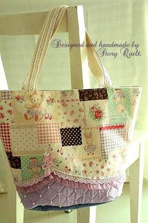 quilted linen tote bag