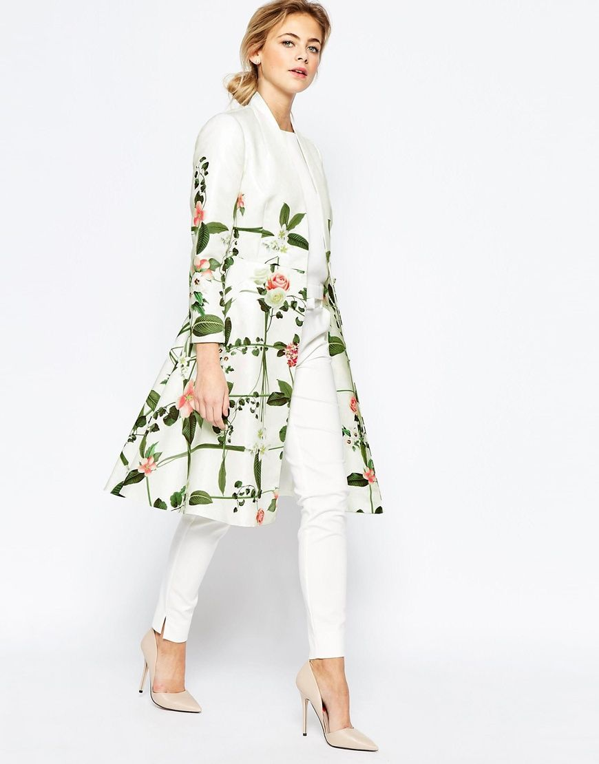 7b064843fe300c Image 4 of Ted Baker Secret Trellis Textured Coat