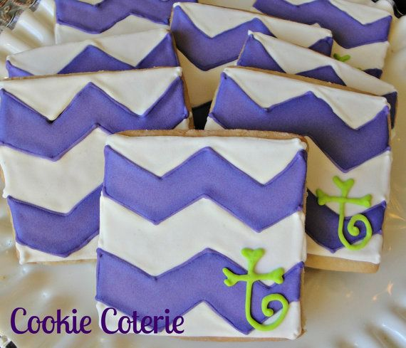 Chevron Cookies Decorated Sugar Cookies Birthday by CookieCoterie, $28.00