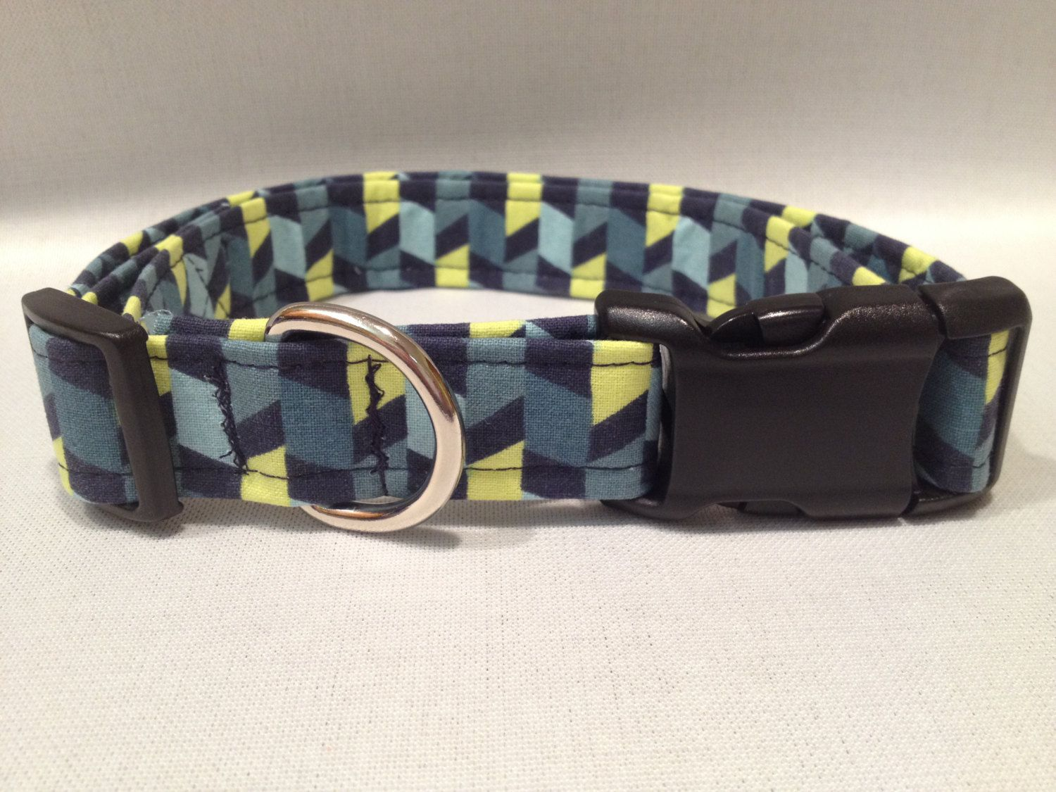 Blue Navy and Lime Dog Collar by ALeashACollar on Etsy