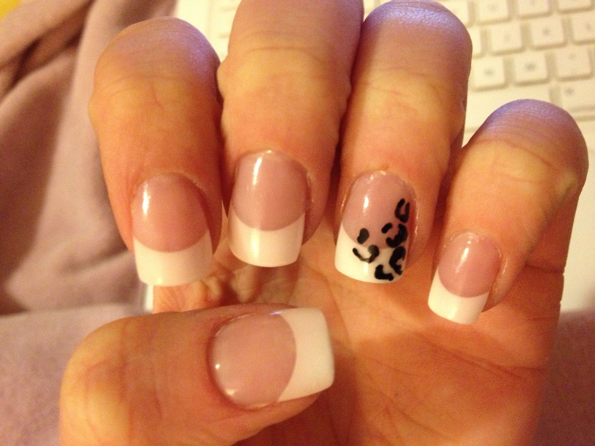 Leopard print French manicure nails. Acrylic nail tip design art ...